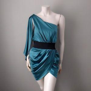 Foley Corinna Teal Silk One Shoulder Grecian Dress